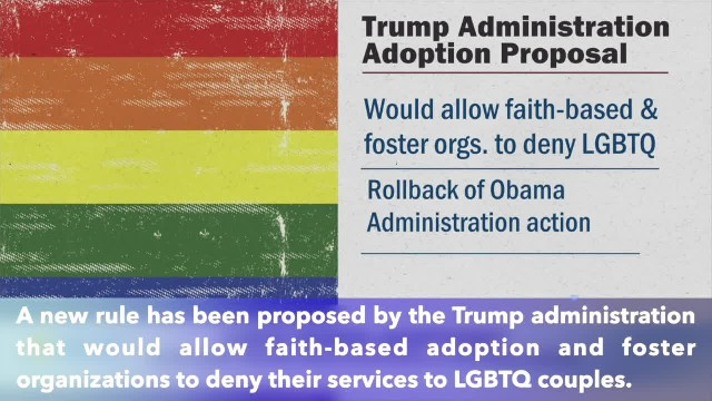 Trump administration proposed new rule allow faith-based adoption organizations to deny service to L