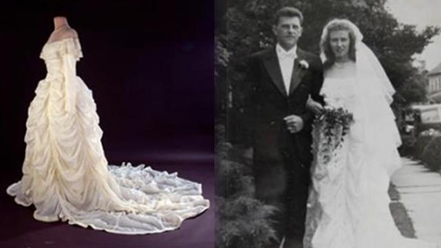 WWII veteran's wife made her wedding dress from the parachute that saved his life