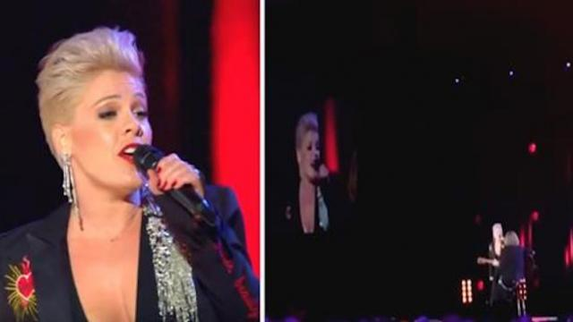Pink takes on Dolly Parton mega hit making crowd roar when she brings down the house