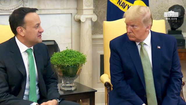 President Trump participates in a meeting with the Prime Minister of Ireland