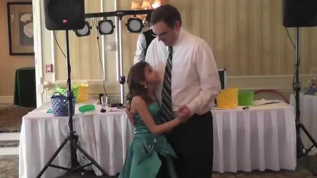 Daddy unsure when daughter wants to dance only to steal the show when music starts