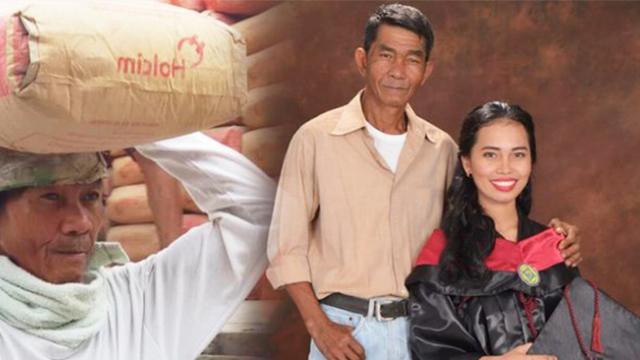 Graduate credits success to hardworking dad, who funded her studies by carrying cement for 24 yrs