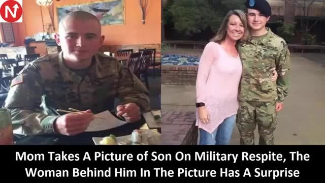 Mom snaps picture of military son at restaruant, spots woman behind him and knows