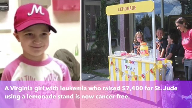 8-year-old girl with leukemia whose lemonade stand raised money for St. Jude is now cancer-free