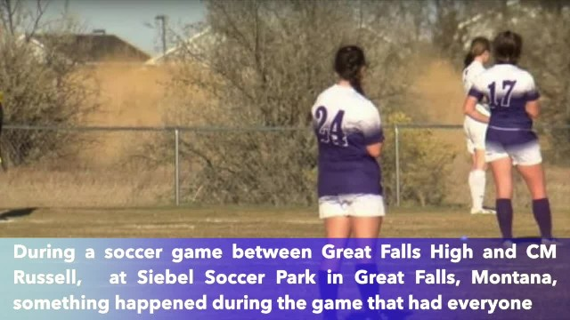 Soccer girls and referee freeze during game as everyone hears unmistakable sound