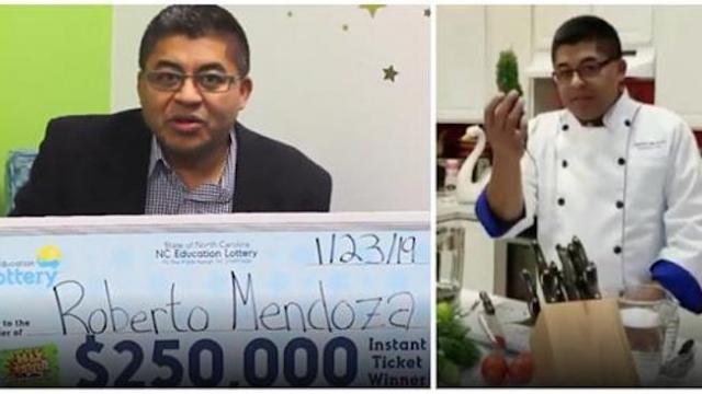 Chef wins $250,000 on $5 lottery ticket, then decides to use money to give back to his community