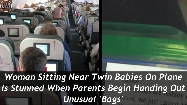 Woman Sitting Near Twin Babies On Plane Is Stunned When Parents Begin Handing Out Unusual 'Bags'