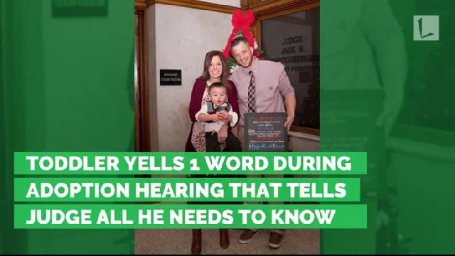 Toddler yells 1 word during adoption hearing that tells judge all he needs to know