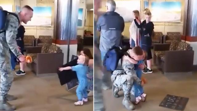 Mom sets toddler in airport with a sign she can't read. Ten seconds later, my heart exploded