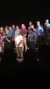 Crowd cheers when teen with autism nails choir solo & his reaction is the cutest.