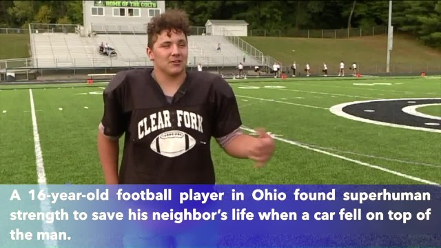 Ohio high school football player lifts car off neighbor's chest, saving his life