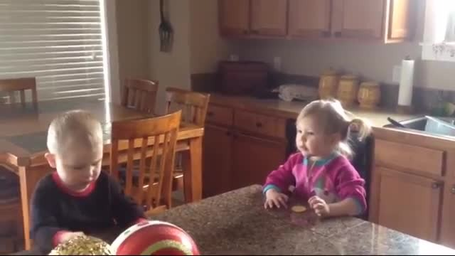 This adorable siblings have an epic argument over cookies in their baby language and they can unders