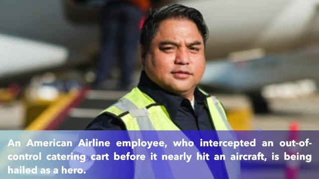 American Airline employee was hailed after stopping out-of-control cart at Chicago's Airport!