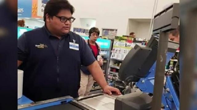 Cashier is ringing up groceries when woman starts to sob, reaches out his hand and says 'I got you'