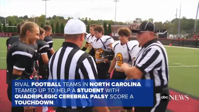 Rival Football Teams Join Together for Memorable Touchdown
