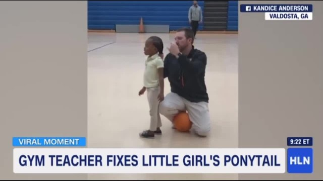 Video of gym teacher fixing student's ponytail goes viral