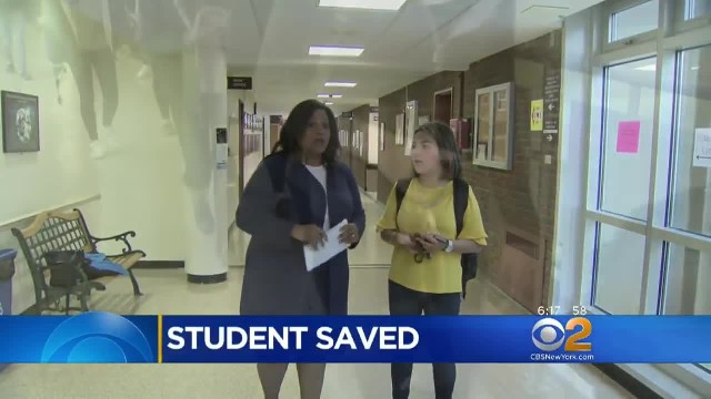 School officer makes eye contact with teen and grabs her before it's too late