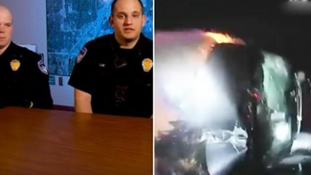 Bodycam captures frantic rescue of two teens from burning van