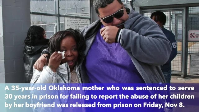 Oklahoma mother released from prison after 15 years for 'failure to protect' children from boyfriend