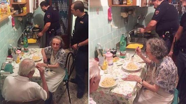Kindhearted cops cook pasta for a lonely elderly couple after they were overheard crying loudly