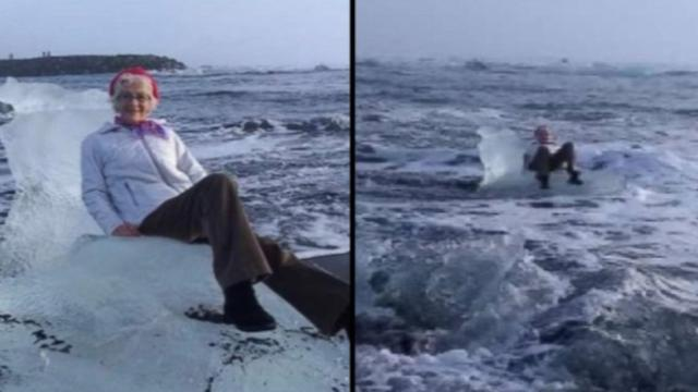 Grandma drifts off to sea after posing on a throne-shaped iceberg