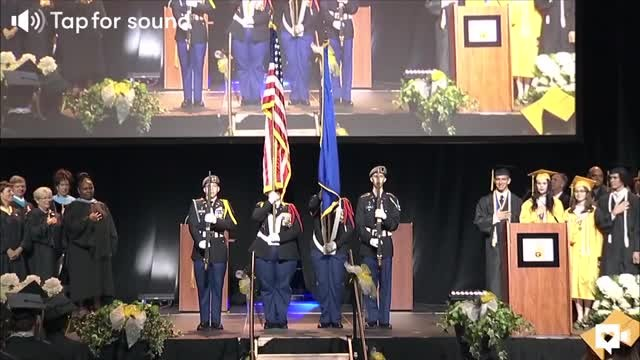 65-year-old school custodian sings beautiful rendition of national anthem at graduation