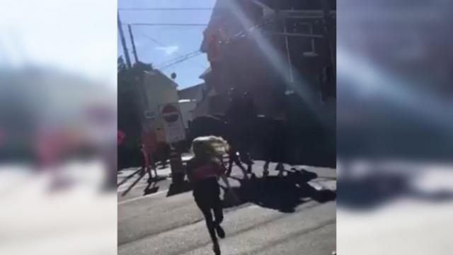 Instant karma: Police horse kicks girl to the ground after she slaps it