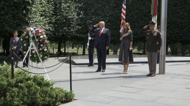 President Trump and First Lady Melania Trump visit the Korean war veterans memorial