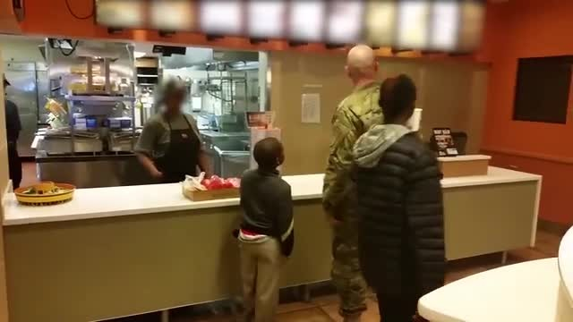 Soldier's Act of Kindness When He Feeds 2 Young Boys Who Were 'Cold & Wet' at Taco Bell