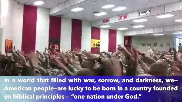 US Marines sing 'Days of Elijah' together during worship service at military base