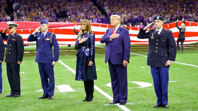 The President and the First Lady attend the College Football National Championship