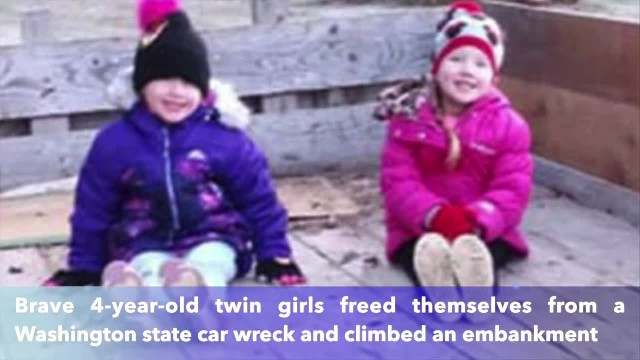 Brave 4-year-old twins escape car crash and climb embankment to find help