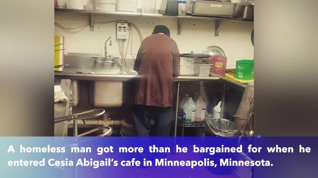 Struggling cafe owner shows homeless man job, not the door