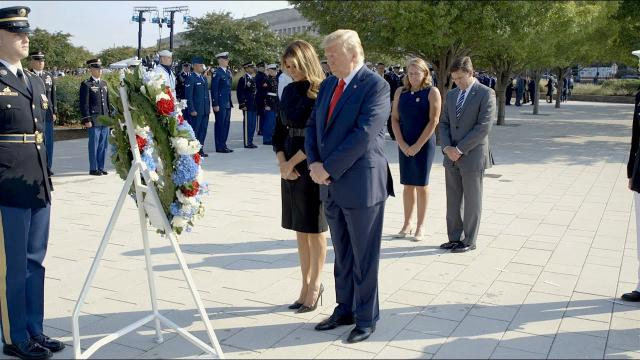 President Trump and the First Lady at the Pentagon National 9/11 Memorial