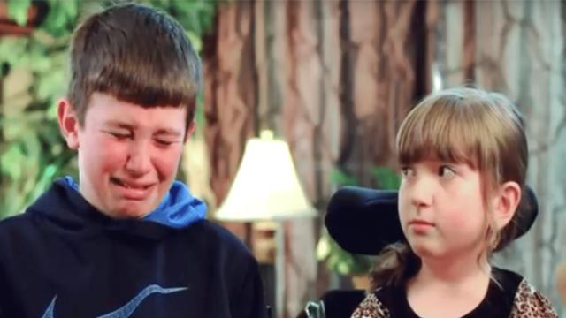 Wheelchair-bound girl in middle of interview when brother suddenly