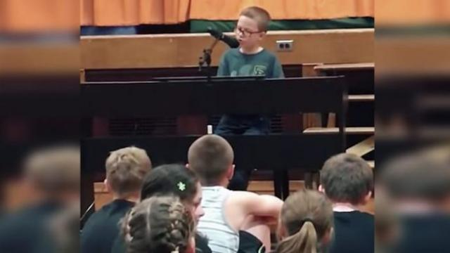 When this 4th grader sang a 50-year-old song at graduation, nobody could hold their tears back