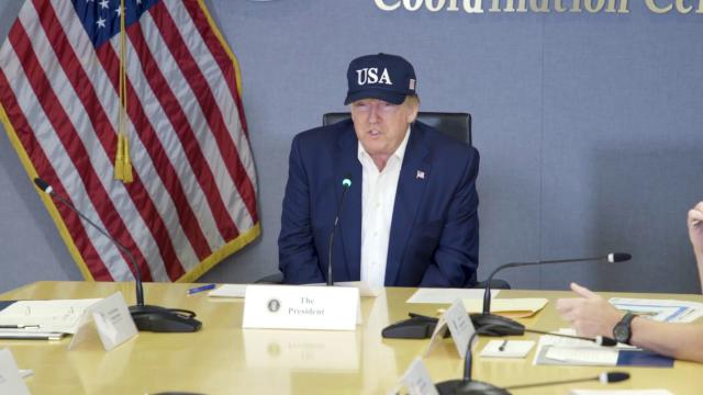 President Trump Receives a Hurricane Briefing at FEMA Headquarters