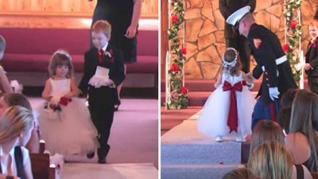 Flower girl finally gets down aisle prompting hysterical outcome moment she stands before pastor