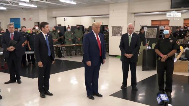 President Trump tours the emergency operations center