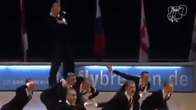 Dancers Form A Line On The Dance Floor, When They Finally Separate The Crowd Goes Wild