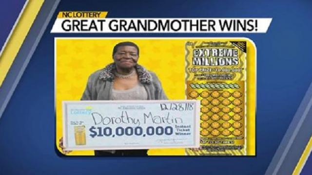 North Carolina great-grandmother strikes it rich with $10M scratch-off win
