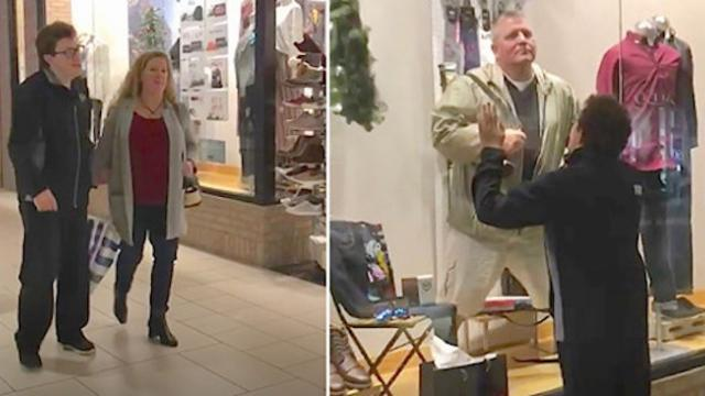 Mall employee catches man trying to entertain son with special needs and puts video on Facebook