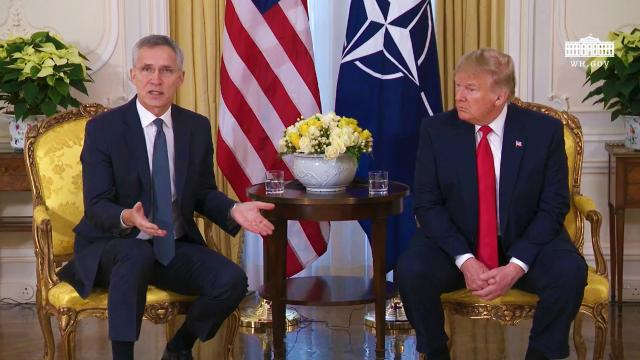 President Trump Participates in a 1:1 Meeting with the Secretary-General of NATO