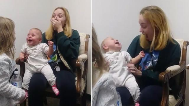 11-Month-old can't stop giggling when she hears mother and sister speak for very first time