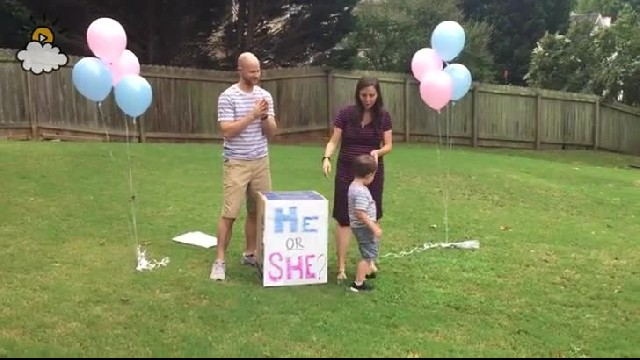 Wife goes to release gender reveal balloons as her husband grabs another box for the secret twin