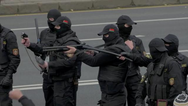 Belarus police fire warning shots