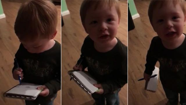 "Hilariously adorable moment son ""helps"" mom with groceries"