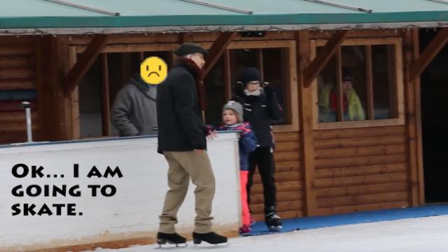 Old man ice skating prank, grandfather ice skater prank, backflip on ice