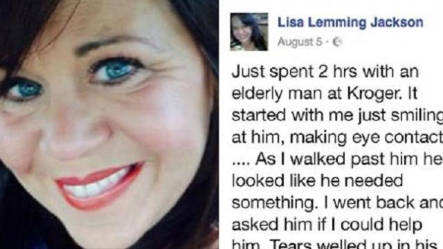 Elderly man has an accident in his pants at the store. This woman's reaction is the best
