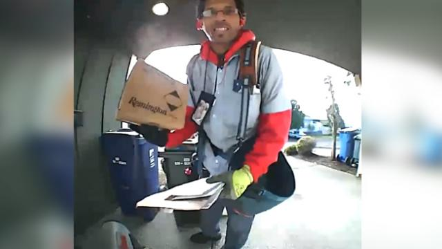 Internet charmed by caring postal worker captured on doorbell cam